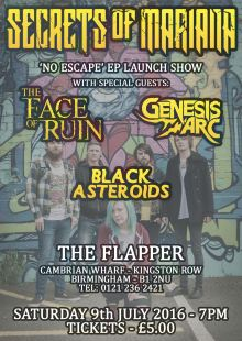 Secrets of Mariana (EP Launch)/ Black Asteroids / Genesis Arc / The Face of Ruin